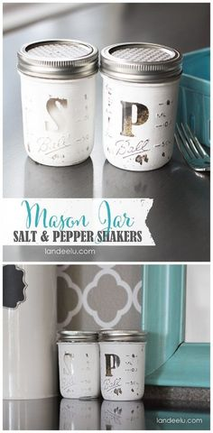 The BEST Do it Yourself Gifts – Fun, Clever and Unique DIY Craft Projects and Ideas for Christmas, Birthdays, Thank You or Any Occasion Mason Jar Salt & Pepper Shakers DIY Gift Idea Tutorial Pot Mason Diy, Mason Jar Gifts, Jar Crafts, Bottle Crafts, Decor Crafts, Diy Craft Projects, Fall Projects, Diy Décoration, Easy Diy