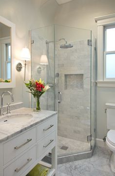 Enchanting Master Bathroom Shower Design Ideas Calming White Marble Small Bathroom Design Ruth In 2019 Bathroom Bathroom Design Small Basement Bathroom Modern Shower, Transitional Bathroom, Transitional Decor, Glass Shower Doors, Glass Corner Shower, Glass Showers, Glass Doors, Corner Tub Shower Combo, Shower Window