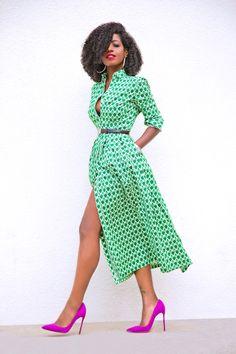 Style Pantry | Print Midi Shirt Dress