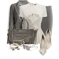 whiteandgrey by bynoor on Polyvore featuring polyvore, fashion, style, Alexander McQueen, ISAAC SELLAM EXPERIENCE, VILA, Gianvito Rossi, Rebecca Minkoff, Carole Shashona and Revo