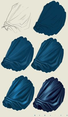 Digital art painting tutorial; clothing wrinkles // Tutorial Photoshop n5 DRAPERY by ~ElyBibi on deviantART - great colour reference for folds using copics.