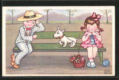 Künstler-AK Margret Boriss: Kleiner Kavalier und kleine Dame mit Hund 0