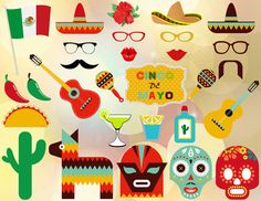 Cinco de Mayo Photobooth Props Mexican Fiesta by OneStopDigital, $6.25
