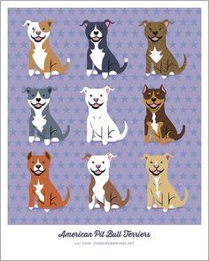 American Pit Bull Terriers art print por doggiedrawings en Etsy