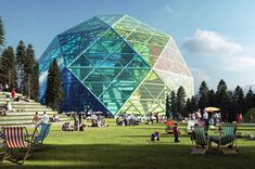 "A Rainbow Power Plant Rises in Sweden, BIG's design marries concepts of the plant and the plant nursery into what the firm calls ""an unconventional hybrid"": a towering, fully transparent enclosure which mimics the elegant structure of a greenhouse while functioning as a power station. The geometric dome, which accommodates the entirety its machinery, is comprised of a lattice of glass and photovoltaic panels. The panels themselves change color as they react to different levels of sunlight…"