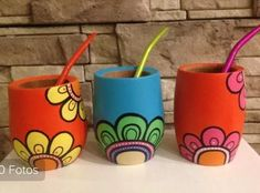 Painted Flower Pots, Painted Pots, Hand Painted Chairs, Color Me Mine, Pottery Painting Designs, Vase Crafts, Jar Art, Sharpie Art, Mandala
