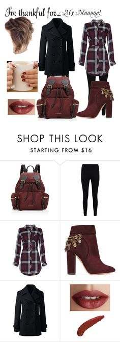 """""""my Mamma!"""" by cam122101 ❤ liked on Polyvore featuring Burberry, Boohoo, Aquazzura, Lands' End, TheBalm and imthankfulfor"""
