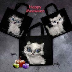 ねこの絵のエコバッグ・ねこみち 猫道 Halloween Cat, Happy Halloween, My Works, Reusable Tote Bags, Japanese, Cats, Products, Gatos, Japanese Language