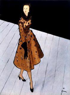 Balenciaga design illustrated by Rene Gruau, 1946 | Sophia | Flickr