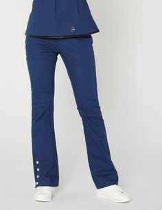 Jaanuu Bootcut Scrub Pant with functional gold snaps.