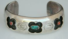 Native American Navajo Vintage Sterling Turquoise Coral Cuff Bracelet Signed Raymond Secatero