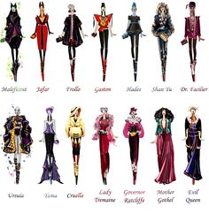 Beautifully imagined haute couture gowns modelled by our favourite Disney villains. By Russian fashion design student Sashii-Kami. Walt Disney, Disney Love, Disney Magic, Disney Dream, Disney Style, Disney And Dreamworks, Disney Pixar, Disney Villain Costumes, Villans Costumes