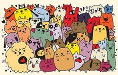 'hand drawn doodle funny dogs set' by Chris olivier Doodle Art Drawing, Doodle Sketch, My Doodle, Wallpaper Doodle, Funny Doodles, Cute Cats And Dogs, Abstract Images, Funny Dogs, Coloring Pages