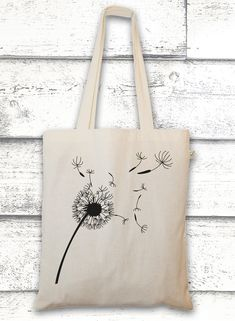 Jutebeutel mit Pusteblume // bag with a flower by GreenVision via dawanda.com