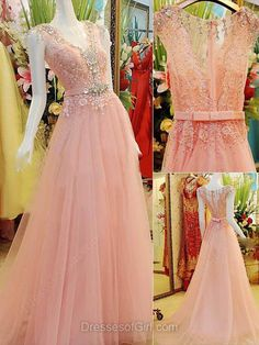 V-neck Pink Tulle with Beading Sweep Train Fabulous Prom Dress - dressesofgirl.com
