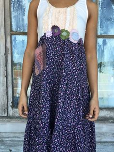 RESERVED Romantic/Tattered/Rustic/Boho/Gypsy Dress upper part of dress is made with cotton and has added appliqué flowers along waistline lower part is made with cotton and has added pocket along front and tie along back Size-small medium Chest-38 has stretch Hips-46 Length-40