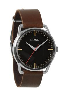 Nixon men's watches now available at Dezeen Watch Store including stainless steel chronographs with leather straps. Dezeen Watch Store, Brown Leather Strap Watch, Watches For Men, Nixon Watches, Wrist Watches, Black And Brown, Gentleman, Vans, Mens Fashion