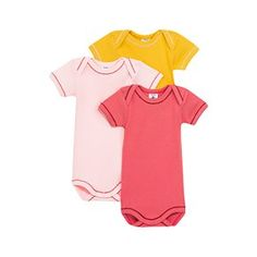 Petit Bateau US Official Online Store, Pack of 3 short sleeve baby girl cotton bodysuits, special lot 00, Bodysuits/Underwear, 11960