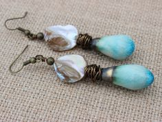 Shell Earrings, Beach Earrings, Rustic Earrings, Resort Earrings, Handmade Earrings, Beaded Earrings, Long Earrings, Dangle Earrings by InspiredTheory on Etsy