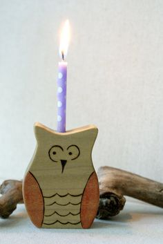 Oliver Owl Birthday Candle Holder by mamaroots on Etsy, $16.00