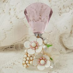 Apple Blossoms Vintage Jewelry-embellished Perfume Bottle by glassbeadtreasures