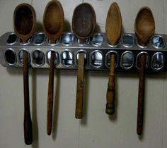 Galvanized Chicken Feeder Primitive Farm Kitchen Wooden Spoon Rack Repurpose Fun