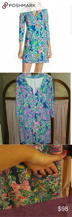 """Lilly Pulitzer Joyce dress Lilly Pulitzer Joyce dress EUC  Indigo Exotic Escapade  UPF 50+ French Terry Dress With Tunic Neckline   Welt Pockets.  35"""" From Top Of Shoulder To Hem.  Length: Above The Knee  French Terry - Printed (67% Viscose, 27% Cotton, 6% Spandex). Lilly Pulitzer Dresses Mini"""