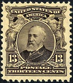 Benjamin Harrison 1903 Issue-13c - The 1902 13-cent postage stamp was the 1st issue to honor Benjamin Harrison, issued on November 18, 1902, less than two years after his death. It was the first 13-cent stamp issued by the US Post Office,[1] and the first of 14 stamps to be released to the public in the 1902–03 series. The stamp was designed by R. O. Smith from a photograph supplied by Mrs. Harrison. The image was engraved by Marcus W. Baldwin.