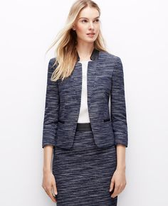 Our classic tweed jacket gets fashion forward with faux leather detail - for a decidedly modern twist.