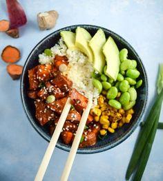 Teriyaki Cauliflower Rice Bowls | yupitsvegan.com. Hearty winter bowls made with cauliflower rice, teriyaki sweet potato, avocado, edamame, and fire-roasted corn.