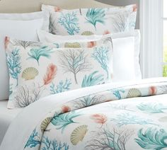 Pottery Barn Multi Colors Del Mar Coastal Sea Shells Full Queen Duvet Cover AND Two Standard Shams New. This duvet cover is made of cotton with organic cotton fibers. This duvet cover is machine washable. Beach Cottage Style, Coastal Style, Beach House Decor, Coastal Decor, Home Decor, Coastal Living, Coastal Cottage, Coastal Colors, Beach Condo