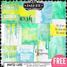 FREE Digital Scrapbooking, Project Life and Digital Pocket Scrapbooking Journal Cards by Just Jaimee