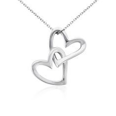 A sweet indulgence, this double heart pendant features two entwined sterling silver hearts that move freely from a matching cable chain necklace. In Sterling… Heart Shaped Necklace, Heart Pendant Necklace, Pendant Jewelry, Sterling Silver Heart Necklace, Sterling Silver Necklaces, Silver Ring, Blue Nile Jewelry, Heart Jewelry, Teen Jewelry