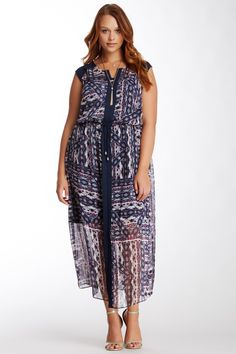 Vince Camuto Tribal Patchwork Dress (Plus Size) by Vince Camuto on @nordstrom_rack