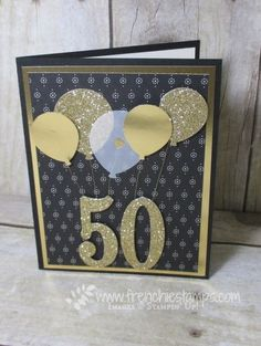 Number of Years, Large Numbers Framelits, Timeless Elegance DSP, Balloon Bouquet punch, Fancy Foil Vellum, Gold Glimmer Paper, Gold Foil, Gold Metallic Thread