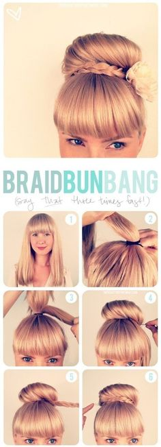 Briad bun bang tutorial. For more hairstyles, go to http://sussle.org/t/Hairstyle