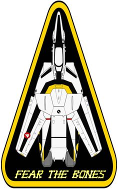 A triangle type insignia for the Skull Squadron VF-1S Valkyrie from the series Robotech/Macross. The design was inspired by the insignia used by the US Navy for the F-14 Tomcat, on which the Valkyr...
