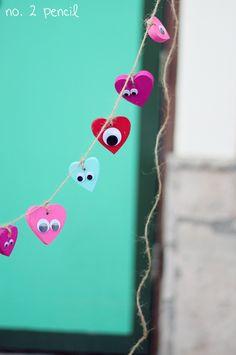 Googly Eyes Heart Garland for Valentine's Day
