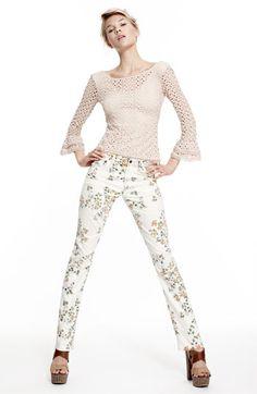 Citizens of Humanity 'Mandy' High Waist Slim Leg Floral Print Jeans (Natural Petite Rose Print)