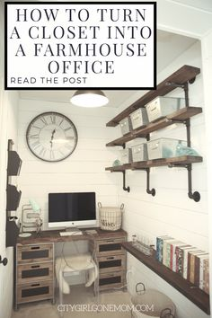 Farmhouse Style Home Office Renovation Farmhouse Office Intended For Farmhouse Office Decor Office Shelf, Closet Office, Office Nook, Office Walls, Office Lounge, Office Shelving, Office Artwork, Office Suite, Home Office Design