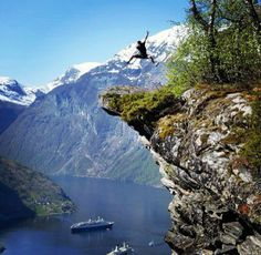 Everyday there is something new to amaze us, this is how we know we are alive #jump over the cliff #Geiranger #fjord #Norway