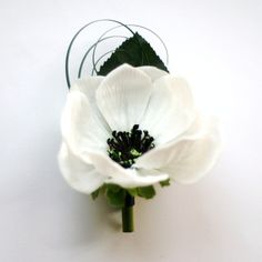 Real Touch Anemone Boutonniere, white black anemones. $13.50, via Etsy.
