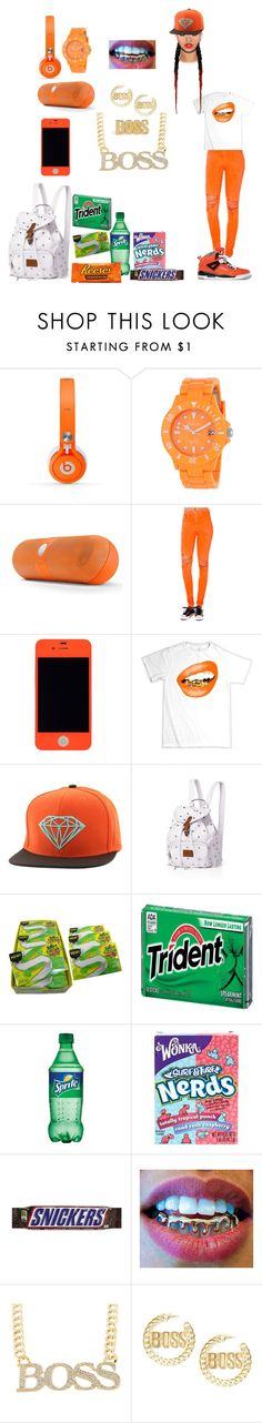 """""""Orange """"Boss"""""""" by dab-qveen-13 ❤ liked on Polyvore featuring Freelook, Beats by Dr. Dre, Akira, Diamond Supply Co., Victoria's Secret, River Island, Schmidt's and Retrò"""