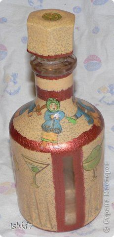 Itens de decoração Decoupage cracelures garrafas Mais garrafas de vidro decoupage Pintura Guardanapos foto 3