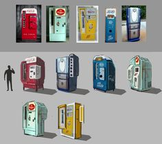 vending machine concept sketches by Kamila Redkiewicz on ArtStation. Vendor Machine, Coffee Machine Design, Olympic Idea, Cyberpunk City, Color Script, Robot Concept Art, Mascot Design, Witch House, Retro Futuristic