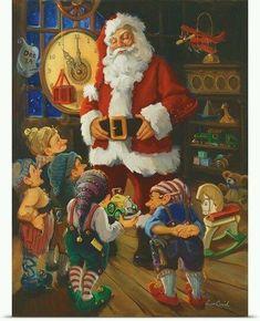 Papà Noel i els nans. Christmas Scenes, Very Merry Christmas, Father Christmas, Vintage Christmas Cards, Santa Christmas, Christmas Pictures, Christmas Crafts, Xmas, Vintage Cards