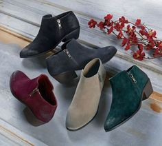 Color and comfort to boot! You need our Distressed Suede Selma Booties in all five colors for fall.