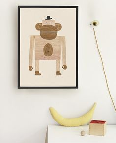 Monkey Poster from Walnut & Walrus Baby Decor, Kids Decor, Illustration Singe, Banana Art, Eco Friendly Paper, Rooms Ideas, Magazines For Kids, Kids Room Design, Scrappy Quilts