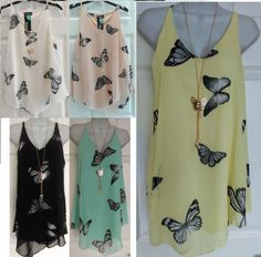 4c2529496e21d Womens Ladies Chiffon Tiered Layer Cami Butterfly Vest Top Shirt SIZE 8-24