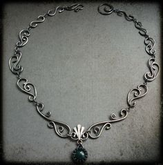 Sterling Silver Filigree Necklace with Moss Agate - absolutely perfect. Who made this treasure?